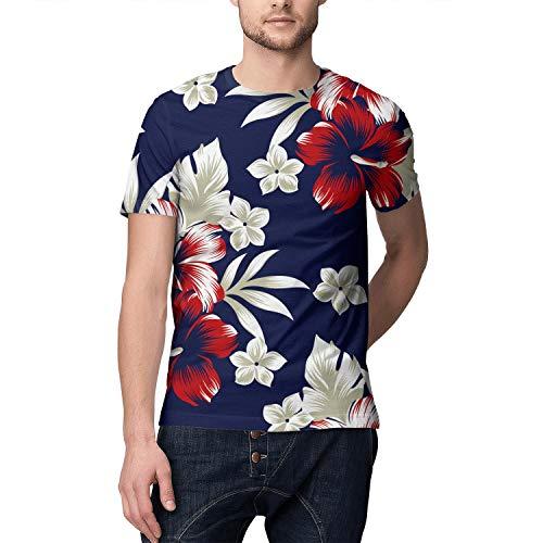 Tropical Floral Hawaiian Design Botanica Full Printed Short Shirts Men ()