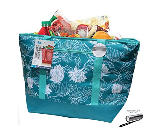 12 Gallon Insulated Mega Tote Bag: for Frozen Food, Perishables and Hot Food - Floral Print