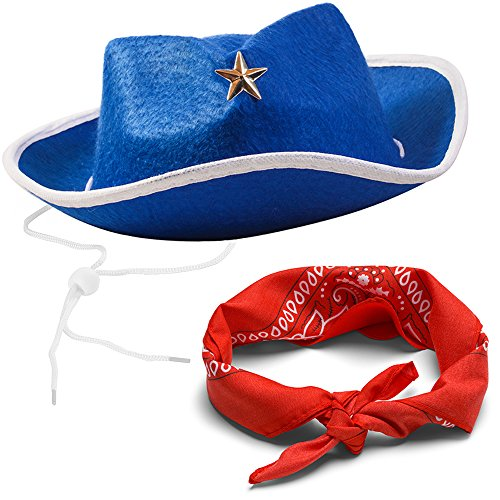Funny Party Hats Sheriff Cowboy Hat - Cowboy Hat and Bandana - Cowboy Costumes - Western Costumes for Kids]()