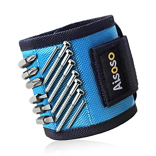 Aisoso Magnetic Wristband, with 20 Strong Magnets for Holding Screws, Nails, Drill Bits, Magnetic Wrist Band Tool Belt - Best Unique Gift for Men, Women, Father/Dad, Husband, DIY Handyman, Birthdays