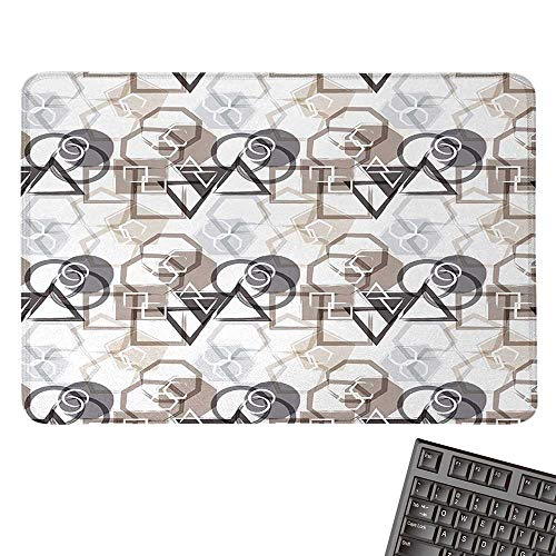 (AbstractE-Sports Gaming Mouse PadModern Pattern with Triangles Squares Plygons Circles Grunge CompositionNonslip Rubber Base 15.7