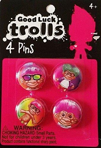 Good Luck Troll Pins - Set of 4 - DreamWorks Trolls - Buttons