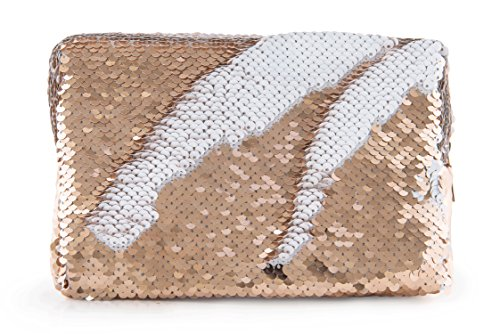 Miamica Women's Sequined Cosmetic Case Makeup Bag, Rose Gold Sequin