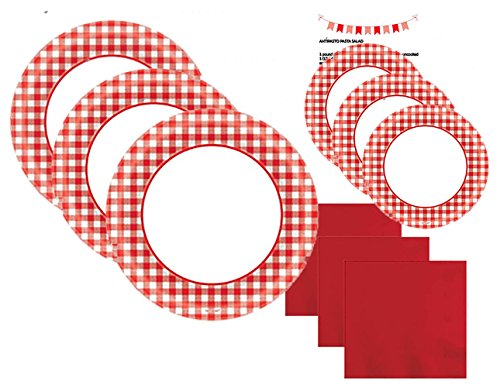 Paper Plates Red Checkered Gingham Party Supplies Set Kit Premium Dinnerware Picnic Red White Dinner Dessert Plates Napkins Recipe Pack for 40 People (181 Pieces)