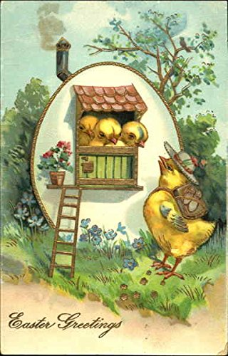 Three chicks in egg house, mother chick with backpack With Chicks Original Vintage (Mother Chicks)