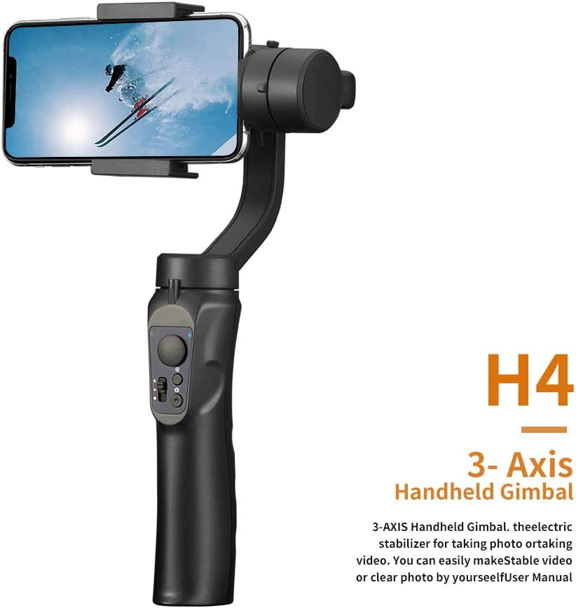 Time-Lapse /& Smart Tracking Auto Panoramas Compatible for iPhone X 8 7 Plus Samsung Galaxy S10 S9 Huawei /& More Adjustable Video Stabilizer H4 3-Axis Handheld Gimbal Stabilizer for Smartphones