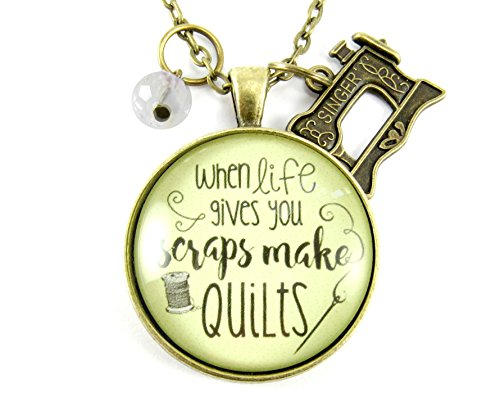 24 When Life Gives You Scraps Make Quilts Quilting Necklace Pendant Bronze Vintage Style Round Glass Seamstress Jewelry, Sewing Machine Charm