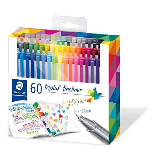 Staedtler triplus fineliner triangular, set with 60 brilliant colours, made in Germany, super fine, metal-clad tip, line width approx. 0.3 mm, 334 C60 by STAEDTLER (Image #6)