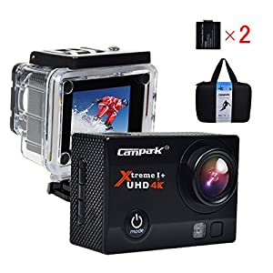 Campark 4K 30fps WiFi Ultra HD Waterproof Sports Action Camera,SONY Sensor,Time Lapse,Slow Motion, TWO Batteries Included