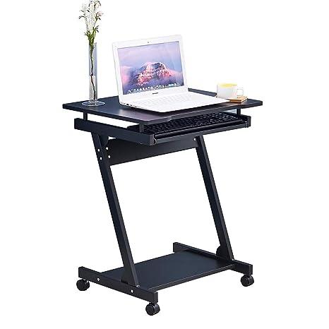 BOJU - Mesa de Ordenador portátil Ajustable con Ruedas pequeñas para sofá o Cama, Mesa de Trabajo con Ruedas para Esquina y Espacio pequeño