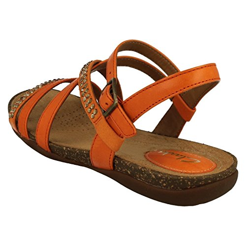 CLARKS Clarks Womens Sandal Autumn Peace Orange Leather 5.0