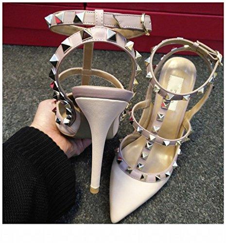 Zapatos de Tacón Alto con Zapatos con Correa en T Sandalias de Tacón Alto H