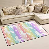 WellLee Area Rug,Cute Unicorns Silhouette On Rainbow Striped Pattern Floor Rug Non-Slip Doormat for Living Dining Dorm Room Bedroom Decor 60x39 inch