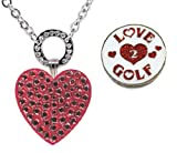 Navika Magnetic Necklace with Swarovski Crystal Red Heart and Glitzy Love 2 Golf Ball Markers