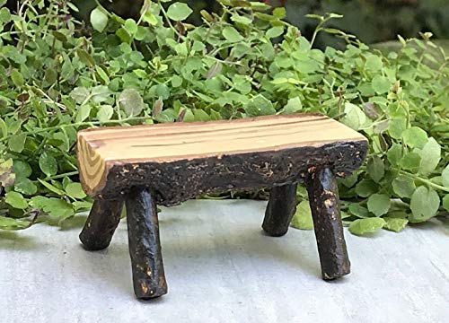(Magic Miniature Dollhouse Fairy Garden Furniture Mini Resin Log Bench Mini Garden Scene)