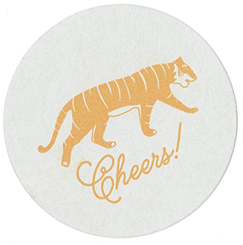 Tiger Party Decor, Paper Drink Coasters, Safari Tableware, Recycled Pulpboard, made in America by REVEL & Co