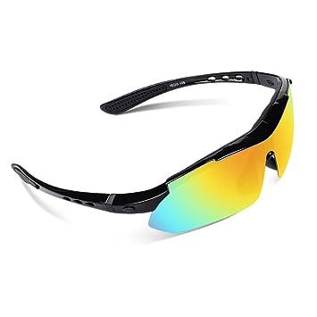 EWIN E03 Gafas de Sol de Deporte polarizadas, con 5 Lentes Intercambiables. Gafas para