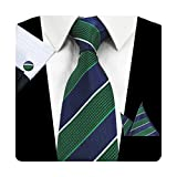 mens blue green ties - GUSLESON Fashion Striped Men Tie Set Green and Blue Necktie with Handkerchief and Cufflinks (0726-15)