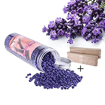 14Oz Hard Wax Beans, HoBeauty Stripless Depilatory Hair Removal Wax Beans Large Bottle Wax Beads, 50pcs Wax Applicator Sticks (Lavender Scent)