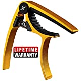GUITARX X3 - Guitar Capo Acoustic and Electric Guitars - Ultra Lightweight (1oz) - No Scratches, No Fret Buzz, Easy to Move - Also for Ukulele, Banjo and Mandolin - Professional, Gold