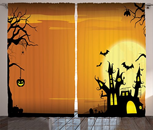 Halloween Decorations Curtains by Ambesonne, Gothic Haunted House Theme Flying Bats Western Spooky Night Scene with Pumpkin, Living Room Bedroom Decor, 2 Panel Set, 108 W X 90 L Inches, Orange Black (Modern Family Halloween Scene)