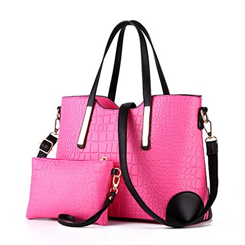 XIN BARLEY Women Shoulder Bag 2 Piece Tote Bag Pu Leather Handbag Purse Bags Set Rose Red