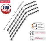 Cheap Stainless Steel Drinking Straws: Bent-Set of 4 straws + 1 free cleaning brush. Certified by FDA and SGS! Fits in Yeti and RTIC 20oz tumblers. Reusable 8.5″ long straws with wide 9.5 mm diameter.-by RH