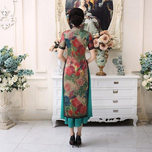 Qipao Blumen Damen ACVIP Blumendruck Chinesische Retro 2 Stück Cheongsam 1 Etuikleid nRnzHqwY