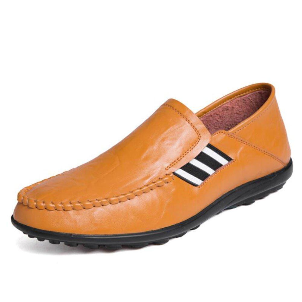CAI CAI CAI Herren Leder Freizeitschuhe   Frühjahr Herbst Atmungsaktiv Lazy schuhe Komfort Fahr Schuhe Loafers & Slip-Ons täglich Office (Farbe   Gelb, Größe   42) 6900aa