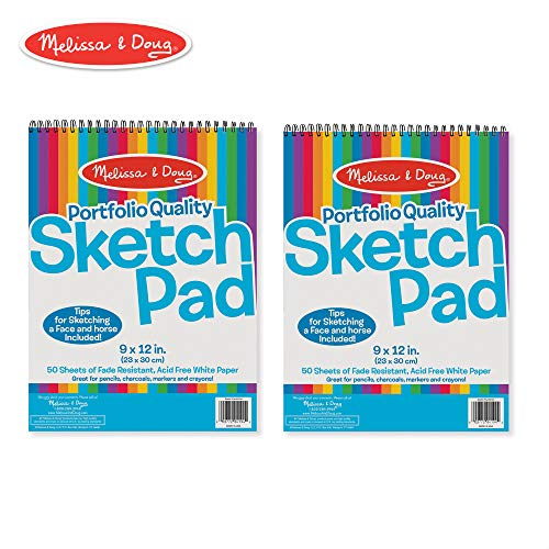 (Melissa & Doug Sketch Pad, Arts & Crafts, Fade-Resistant, Acid-Free White Paper, 50 Sheets, 2-Pack, 9