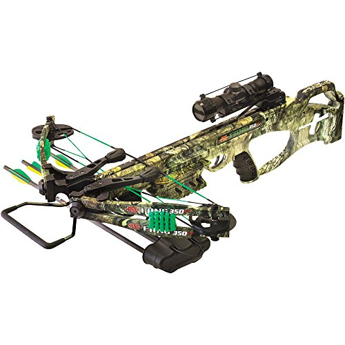 New PSE Fang 350 XT Mossy Country Crossbow | Pre-installed 4X32 MR Scope & Five Bolt Quiver | Includes Three 20″ Carbon Bolts with 100gr Bullet Points Cocking Rope & Rail Lube