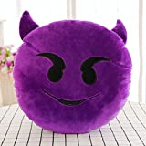 HOMEE the Qq Expression Doll Pillow Emoji Geek Lovely Creative Expression Package Plush Toys Birthday Gift of Boys and Girls ,40Cm, Triumph,The Demon,33cm