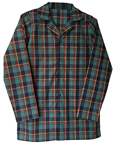 Mens 100% Cotton Button Up Long Sleeve Plaid Check Sleepwear Nightshirt (Medium (36-38'' Chest)) by Sock Snob