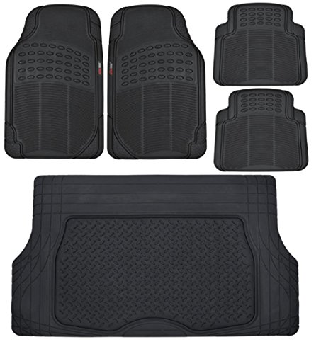 Motor Trend Heavy Duty Black All Season Odorless Rubber - 4 Piece Floor Mats w/ 1 Piece Trim to Fit Trunk Cargo Liner