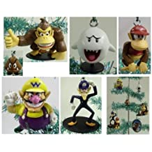 Set of 6 Super Mario Brothers Christmas Tree Ornaments Featuring Wario, Waluigi, Goomba, Boo the Ghost, Donkey Kong, and Diddy Kong