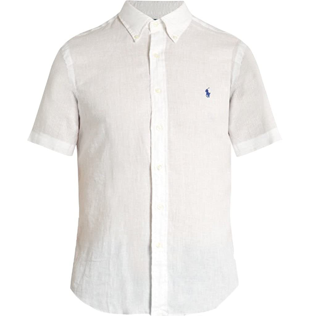 b06a1da7c Ralph Lauren Men Short Sleeve Button-Down Linen Shirt (S
