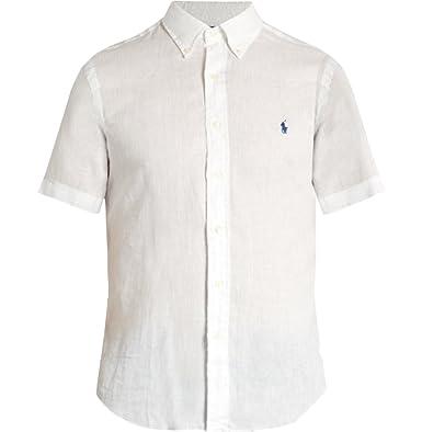4c2c2ea7 Ralph Lauren Men Short Sleeve Button-Down Linen Shirt (S, White)