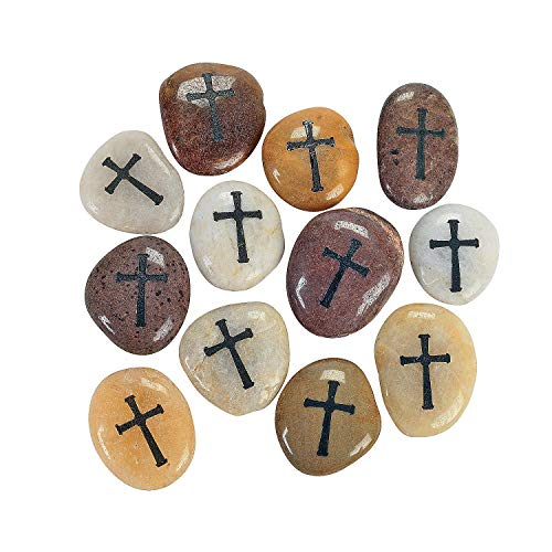Fun Express - Cross Worry Stones - Home Decor - Gifts - Inspirational Gifts - 12 Pieces
