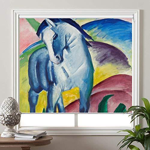 PASSENGER PIGEON Blackout Window Shades, Blue Horse, by Franz Marc, Premium UV Protection Custom Roller Blinds, 34