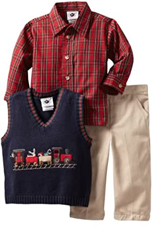 Good Lad Baby Boys' 3 Piece Sweater Pant Set, Navy, 18