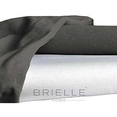 Brielle Jersey Knit Rayon from Bamboo-Cotton Blend Sheet Set, Queen, Gunmetal