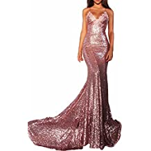 Elinadrs Women Sexy Mermaid Long Sequin Evening Party Dress Spaghetti Strap Prom Gown 218