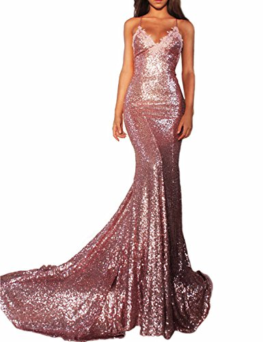 Women's Sexy Mermaid Long Sequin Evening Party Dress Spaghetti Strap Prom Gown 218 Pink ()