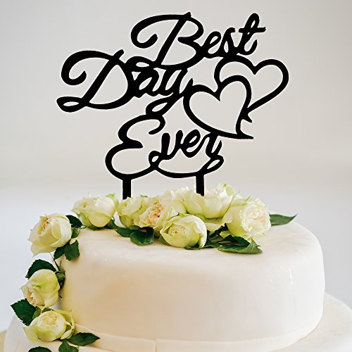 JennyGems Wedding & Anniversary Cake Topper - Best Day Ever