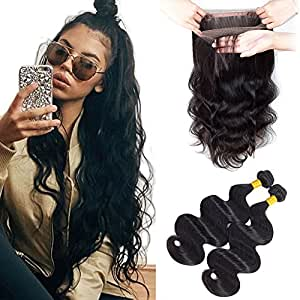 Sweetie Hair 360 Lace Frontal With Bundles Brazilian Virgin Hair Unprocessed Human Hair with 360 Frontal 18 20 with 16 Inch Natural Color Free Part
