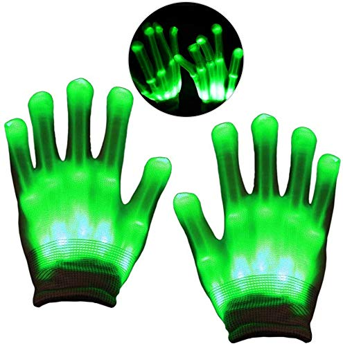 LED Gloves, Light Up Green Flash Skeleton Hand Gloves Single Colour 3 Modes Glow for Festivals/ Halloween/ Christmas/ Bonfire Night/ Party/ Games/ Gift, Small Size Kids(5-10 yrs Green)