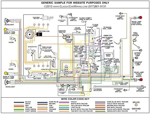 Amazon.com: Full Color Laminated Wiring Diagram FITS 1954 Ford Car Large  11