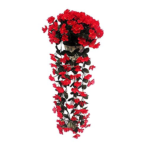 XGuangage Artificial Flowers Fake Hanging Flowers Vine Garland for Wedding Decorations (red)