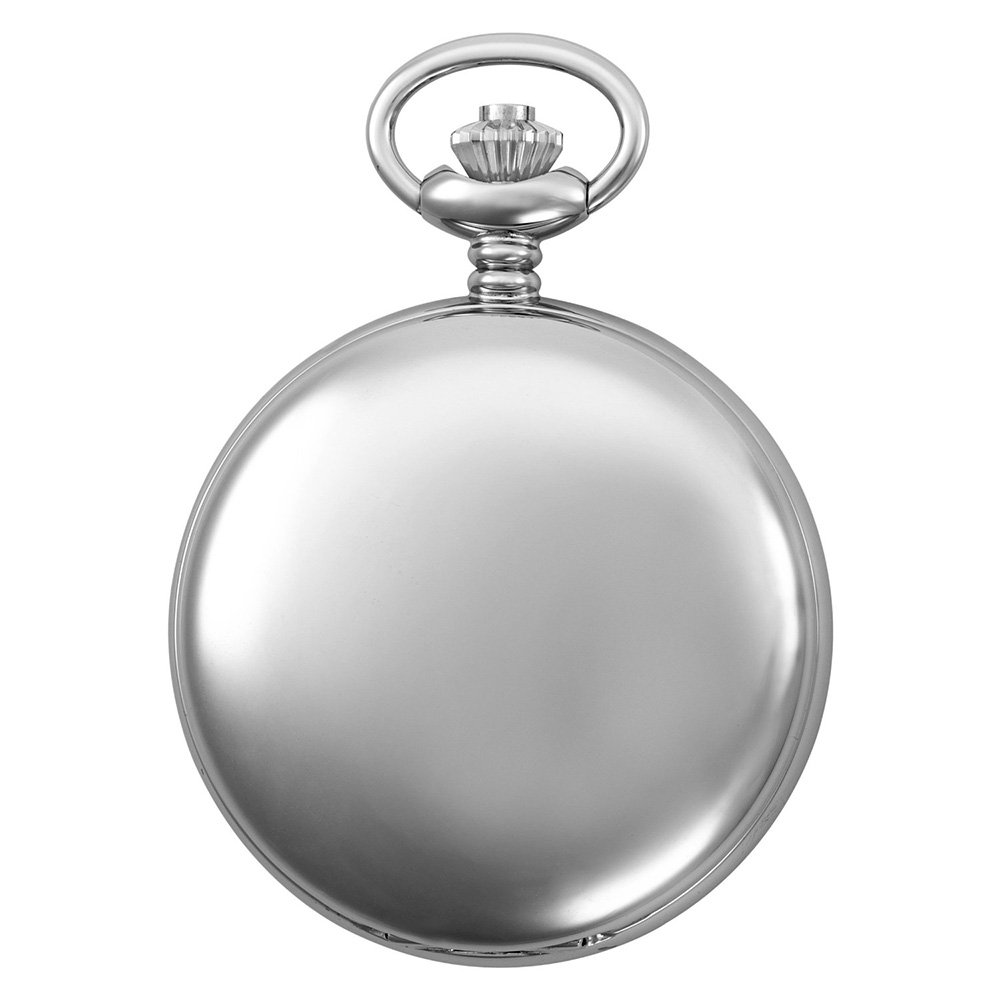 Gotham Men's Silver-Tone Railroad Polished Finish Covered Quartz Pocket Watch # GWC15044S by Gotham (Image #2)