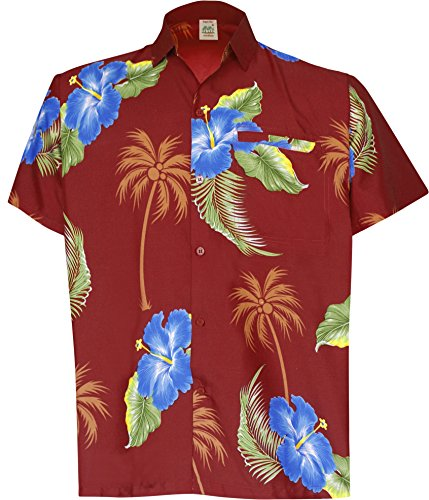 La Leela Aloha Hawaiian Tropical Beach Solid Plain Mens Casual Short Sleeves Button Down Tropical Shirts XL Red (Camp Shirt Printed Silk)